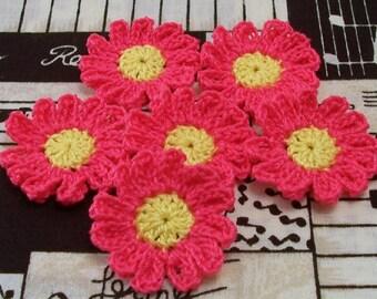 Crochet Hot Pink Flower Appliques