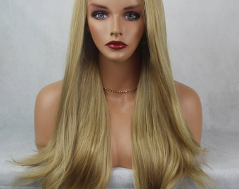 Champagne Blonde with Light Blonde Highlights  Long Straight Soft Swiss Lace Front Synthetic Wig