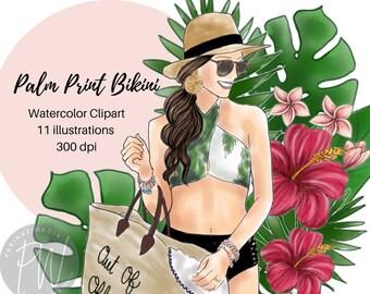Palm Print Bikini Watercolor illustration Clipart,  fashion illustration, fashion print, watercolour, fashion clipart, girl logos
