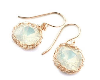 Rose Gold Swarovski crystal earrings white opal dangle earrings  wire crochet jewelry  gift