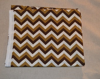 Destash- Brown and White Chevron Cotton Quilting Fabric Yardage For Quilting Or Crafting