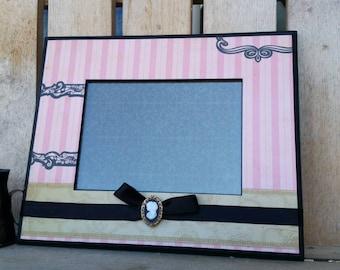 PARIS PINK FRAME 5x7, French themed frame, pink frame, cameo embellishment, black ribbon, Paris in frame, handmade frame, home decor, gifts.