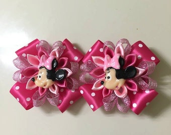 Disney Inspired Minnie Mouse Hairclips - Handmade