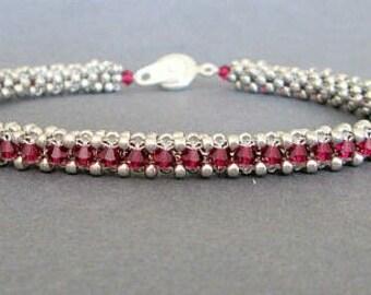 crystal beaded bracelet, swarovski,  fuschia, pink bracelet, sterling silver bracelet, seed bead bracelet. beaded jewelry, boho bracelet