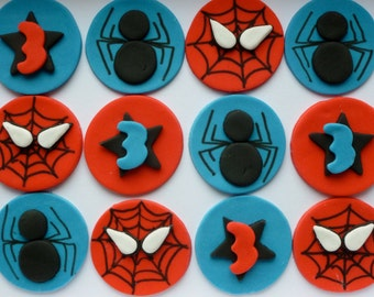 Fondant Spiderman Cupcake Toppers - Super Hero Themed Cupcakes are handmade in the Uk
