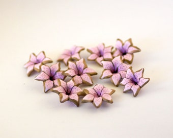 Pale Pink Lily Beads, Polymer Clay Beads, Light Pink Flower Beads, 10 Beads