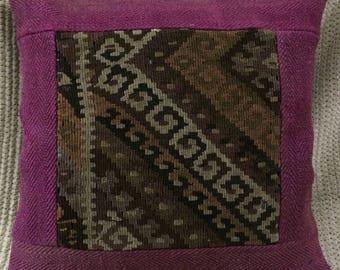 purple pillow, rug design pillow, handmade pillow