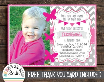 Butterfly First Birthday Invitation - 1st Birthday Party Invite with FREE Thank You Card