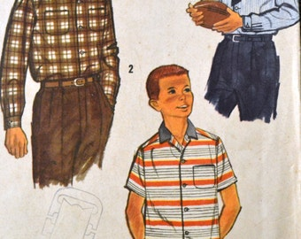 Boys' Button Front Shirt Vintage Sewing Pattern Simplicity 2212  Size 10 Complete