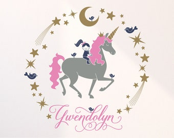 Happy Unicorn Name Wall Decal Baby Animal Unicorn Nursery Wall Sticker, Girl Unicorn Room Decor Personalized Cute Horse Decal