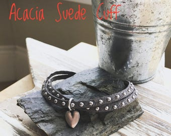 Acacia Suede Cuff/ Grey Suede Bracelet / Studded Suede Bracelet / Boho / Bohemian Jewellery / Stacking Bracelet / Charm Bracelet / Gifts