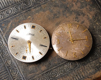 Set of 2 Vintage watch movements, watch parts, watch faces. (MS)