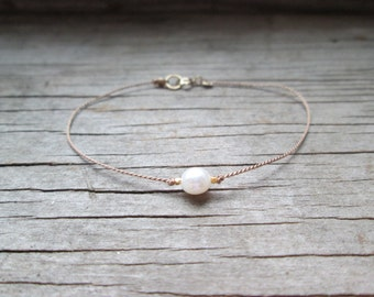 dainty BUTTON PEARL and silk cord bracelet with tiny gold fine silver or rose gold nuggets minimalist layering June birthstone