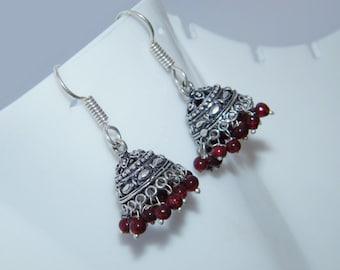 Red Beads Jhumki, Nepali Boho Handmade Silver Plated Jhumka Earring, Indian jewelry , Bell earrings