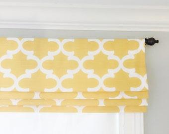 Faux (fake) flat roman shade valance.  Your choice of fabric (up to 10 dollars/yard) included!  Custom Sizing.  Premier Fynn Yellow Slub.