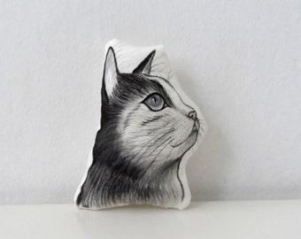 Cat  Portrait  Plush, Handpaint Cat Mini Decorative Pillow, cat pillow, unique gift for cat lovers
