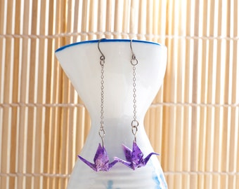 Origami earrings crane in purple recycled paper on thin silver chain eco-friendly jewelry -Made to order