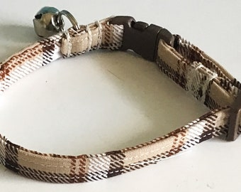 Brown & Beige Plaid  Cat Collar with Breakaway Buckle and Bell