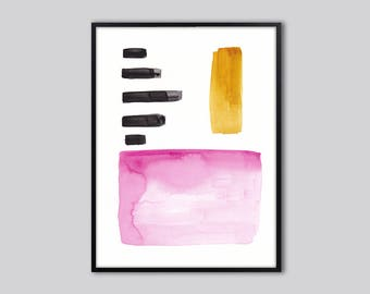 Abstract wall art print, abstract art, Geometric, abstract painting, colorful abstract art print, pink, black, modern, minimalist print
