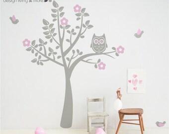 Children Wall Decal - Bird Tree Decal - Owl Tree Wall Art for Baby Nursery - 0039