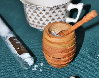 Hand-turned maple and oak salt cellar and spoon