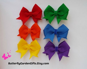 Mini satin tail down hair bow clip size x-small