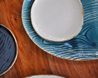 Oval Peacock Blue Ceramic Platter - Faux Bois Wood grain Handmade Ceramic Platter Pottery Platter Wedding Gift Housewarming Gift