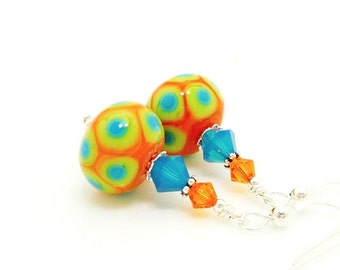 Orange Earrings, Polka Dot Earrings, Southwest Earrings, Lampwork Earrings, Glass Earrings, Glass Bead Earrings, Bright Earrings