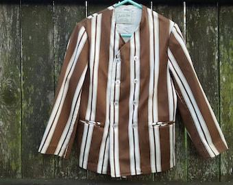 Boys Jacket, Jack Tar Togs,  Striped Jacket, 50s Jacket, Vintage Jacket, Brown Jacket, Galey & Lord Fabric, 50s Costume, Stage Costume