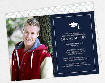 Graduation Invitation, Photo Graduation Invitation, Graduation Announcement, Printable, PDF, DIY, Printed Invites, Modern, Boy, Dan, Navy