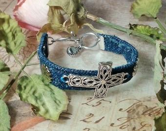 Cross Bracelet, Denim Cross Bracelet, Denim Bracelet, Faith Bracelet, Inspirational Denim Bracelet, OOAK Religious Gift, Blue Cross Bracelet
