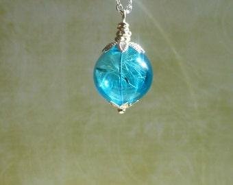 Dandelion necklace Blue orb necklace Terrarium jewelry Orb necklace  Dandelion Girlfriend gift Real flower jewelry Dandelion seed necklace