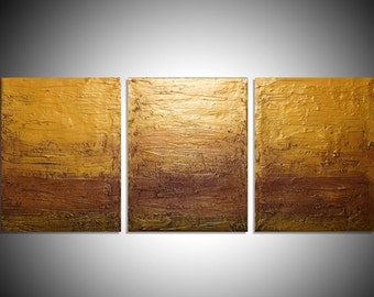 """LARGE affordable WALL ART triptych 3 panel wall contemporary """"Gold Triptych"""" canvas original painting abstract canvas pop kunst 27 x 12"""""""