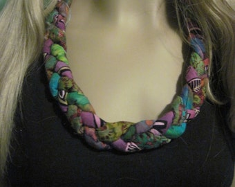 Batik Fabric Necklace, Textile Jewelry, Knotted Necklace, Trending, Textile Necklace, Bib Necklace