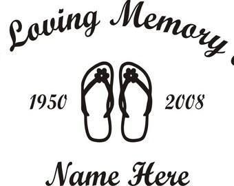 In Loving Memory Of Flip Flop Memorial Window Decal