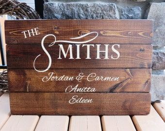 Family Names Wood Sign - Established Date, Children's Names, Mom and Dad's Names, Rustic, Distressed, Country, Farmhouse, Wood Plank