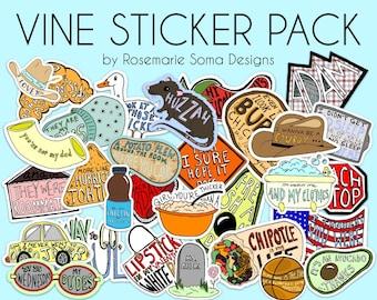 Vine Sticker Sets / Vine Sticker Pack - customizable set sizes (5, 8, 10, 12, 15, 20, 25, 30), laptop sticker set, laptop sticker pack