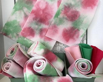 Hand Dyed Wool Felt, Watermelon Splash, Pure Merino, NonWoven Fabric