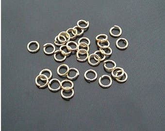 Lot 20 rings gold plated 4 x 0, 7 mm