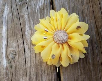 Yellow and Gold, Polka Dot Flower Clip, Girls Hair Clip, Hair Accessory, Wedding Flower, Photo Prop, Gold Polka Dot Flower, Baby Hair Flower