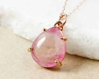 Bi-Color Pink Tourmaline Necklace - Teardrop Tourmaline Pendant - Rose Pink Tourmaline