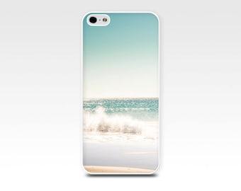 nautical iphone case 5s iphone 6 case beach scene iphone 4s ocean case iphone 4 case 5 iphone case photography teal pastel blue waves cream