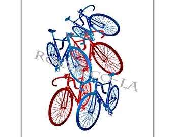 "Red and Blue Bicycles/Americana, Bicycle art print, Bike poster, retro, motivational art, modern art - ORIGINAL ARTWORK  - 8 x 10"""