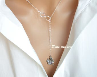 Best sweet Lariat Y necklace Sterling Silver- Infinity layered with delicate Flower drop necklace, high fashion, Birthday Christmas gift