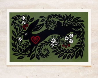 Berry Bramble Hare Cut Paper Fine Art Print