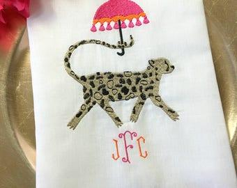 Parasol Cheetah Monogrammed Embroidered Linens. Cocktail Napkins. Linen Hemstitch Guest Towel. Cotton Kitchen Dishtowel. Hostess Gift.