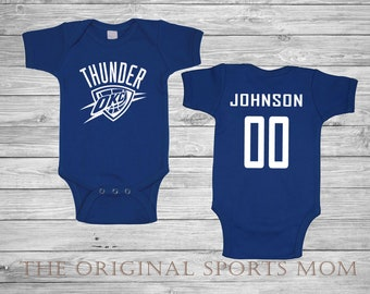 Personalized OKC Thunder/Basketball - One Piece and/or Bib! Perfect as a Babyshower Gift and your little one's first photoshoot!
