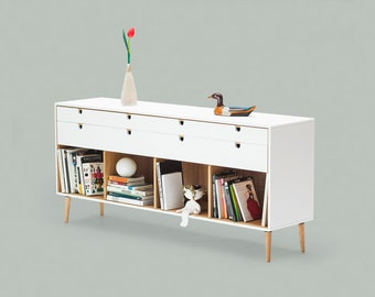 Commode, dresser,  credenza in solid oak wood board, style modern mid century
