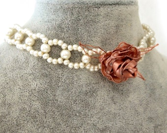 Vintage pearl choker | Beaded pearl choker | pearl necklace | rose choker | wedding choker | wedding jewelry | bridal choker| bridal jewelry