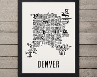 DENVER Neighborhood Typography City Map Print